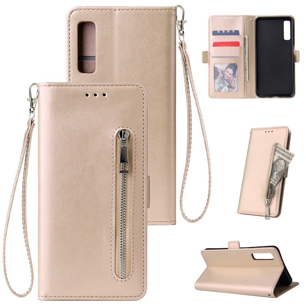 For Samsung A7 2018-A750 Solid Color PU Leather Zipper Wallet Double Buckle Protective Case with Stand & Lanyard gold