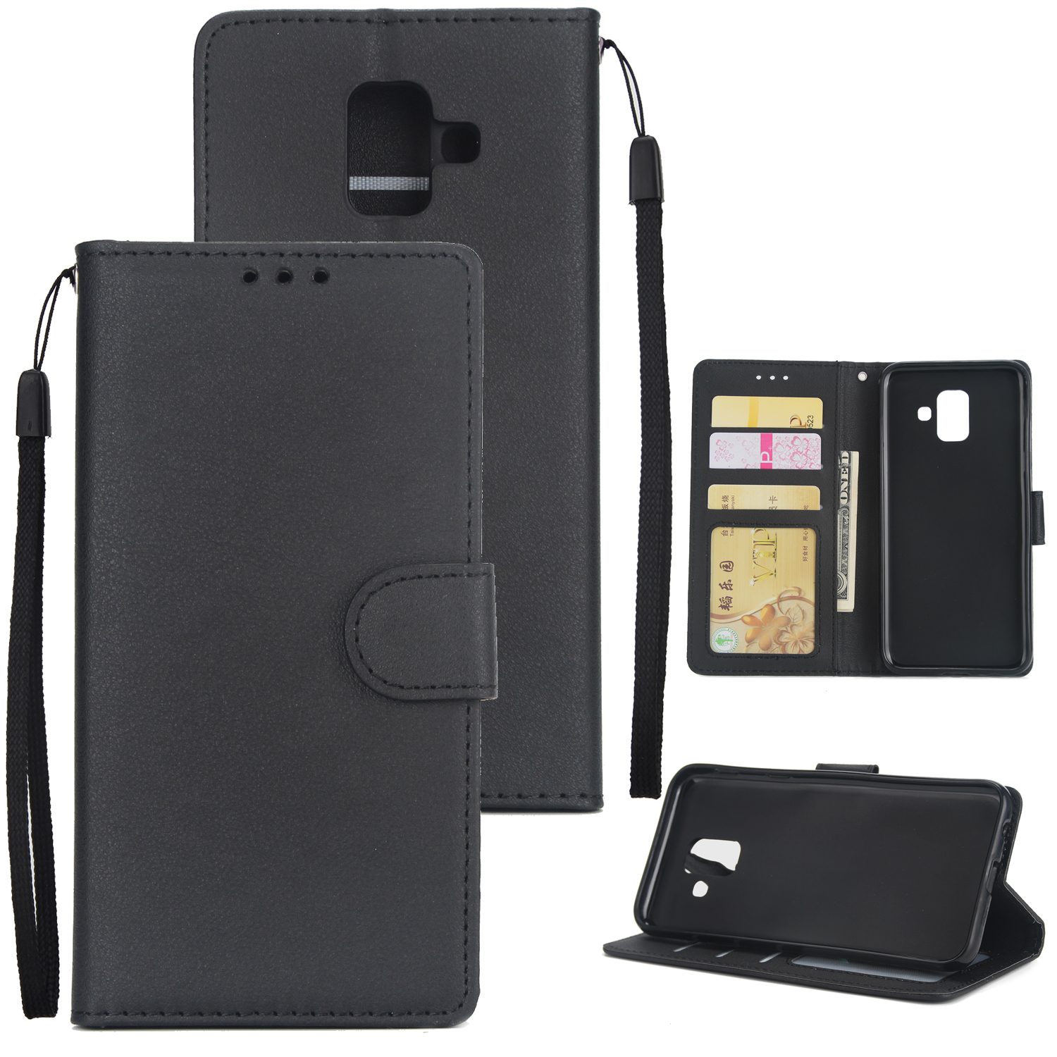 For Samsung J6 plus Flip-type Leather Protective Phone Case with 3 Card Position Buckle Design Phone Cover  black