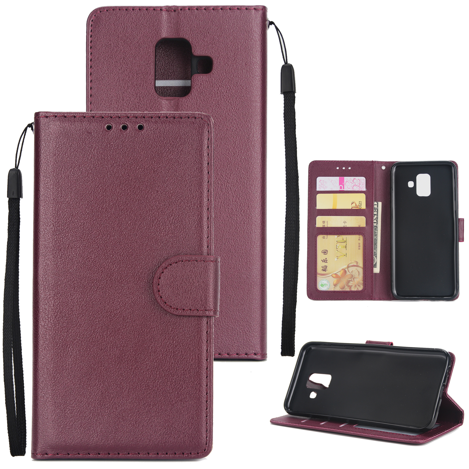 For Samsung J6 plus Flip-type Leather Protective Phone Case with 3 Card Position Buckle Design Phone Cover  Red wine