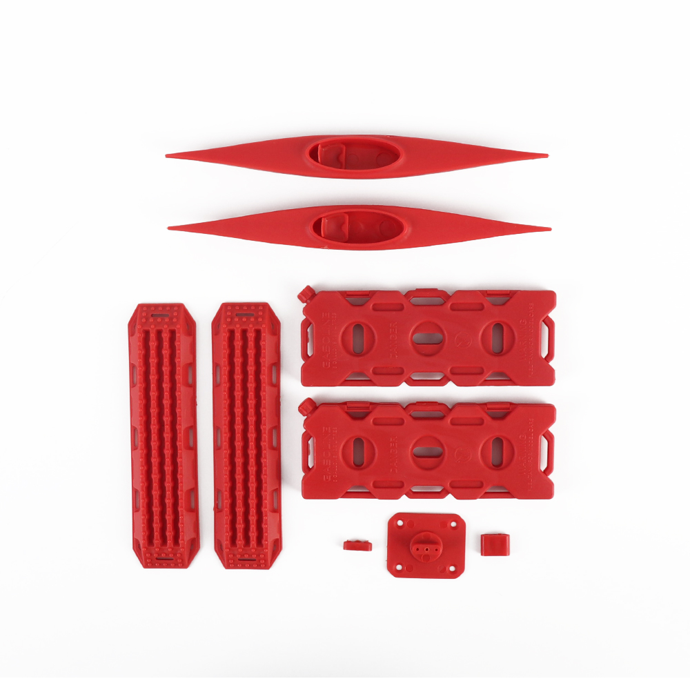 Decoration Sand Ladder Recovery Board+Canoe+Simulation Fuel Tank for 1/10 RC Crawler Car red