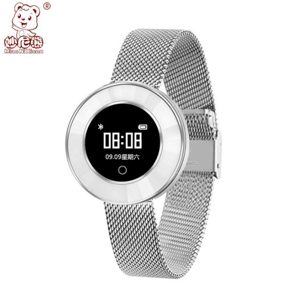 New X6 Smart Bracelet Watch Female Fashion Round Screen IP68 Waterproof Sports Step Health Monitoring Silver