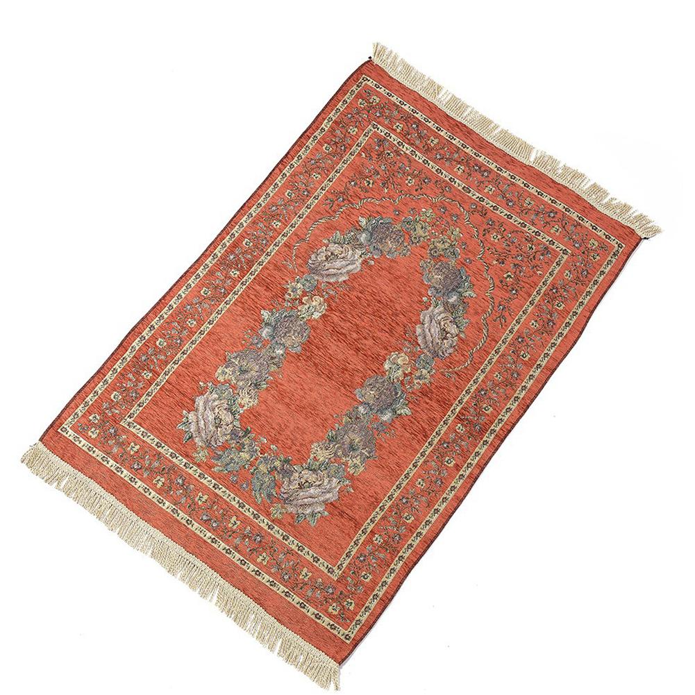 Islamic Pilgrimage Blanket Muslim Prayer Mat Lightweight Thin Carpet Islam Eid Ramadan Gift Apricot red_70cm*110cm