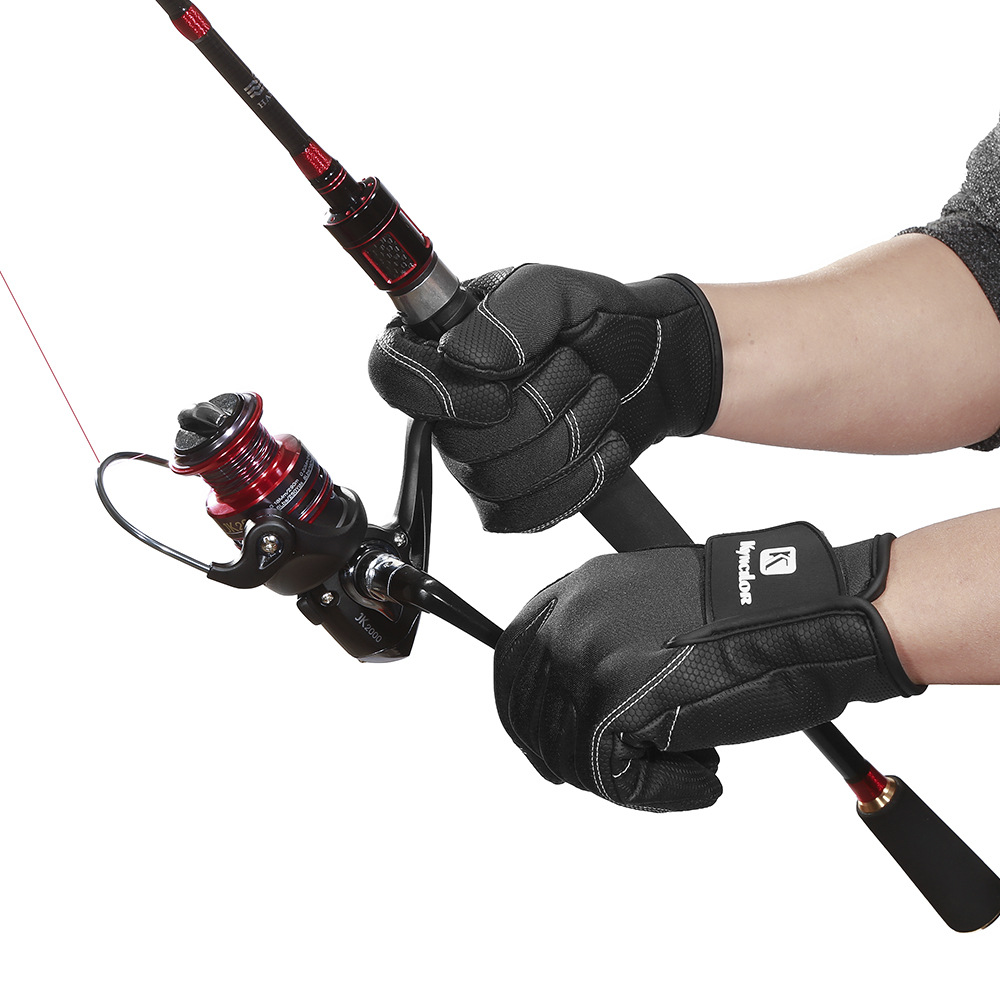 PU Leather Fishing Gloves Anti-Slip Winter Gloves Outdoor Fishing Tackle Three Fingers Exposed Available black_M