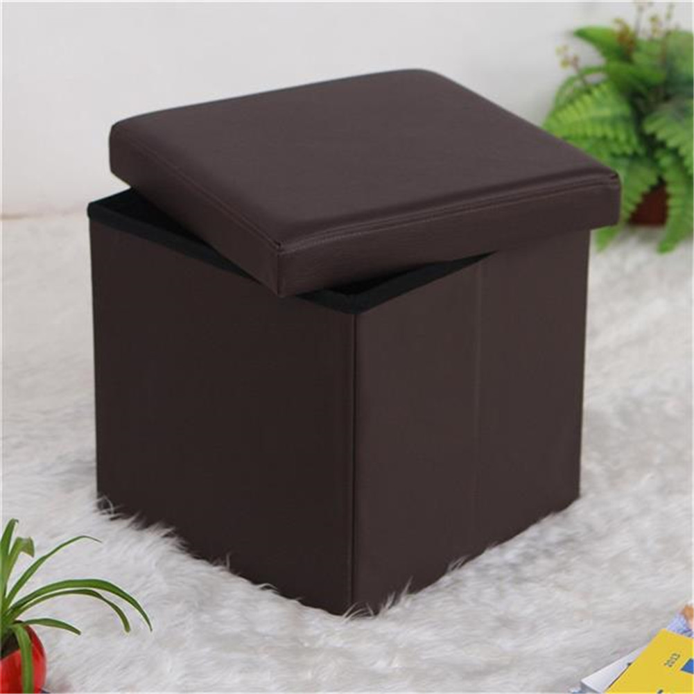 [US Direct] Leather Square Shape Footstool Storage Cube Footrest Seat 38*38*38cm brown