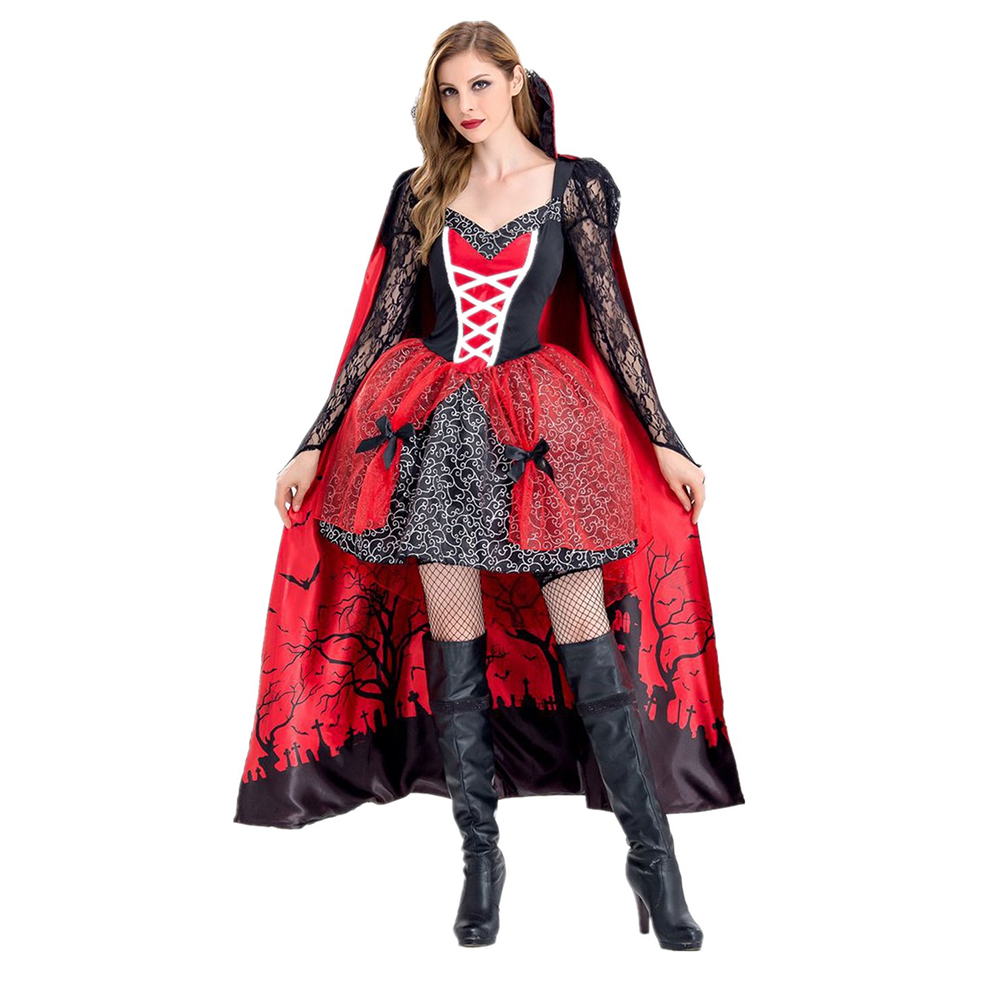 New Women Vampire Costumes Cosplay Gothic Vampire Outfit The Queen Vampire Role Play Clothing 1543_XL