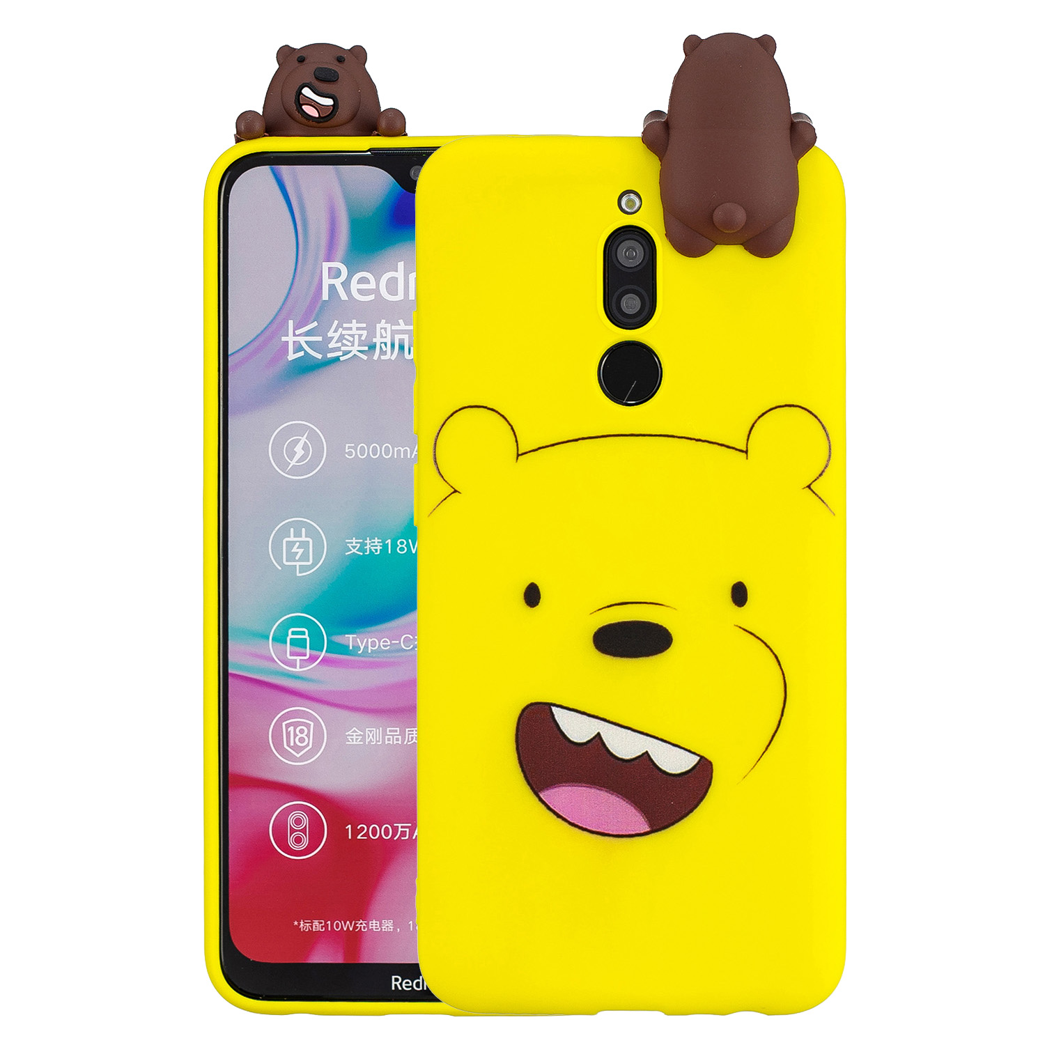 For Redmi 8/8A/5/Note 8T Mobile Phone Case Cute Cellphone Shell Soft TPU Cover with Cartoon Pig Duck Bear Kitten Lovely Pattern Yellow