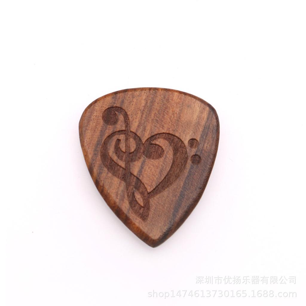 Guitar Picks Plectrum Solid Wood Fingerpicks Musical Instrument Accessories Love note
