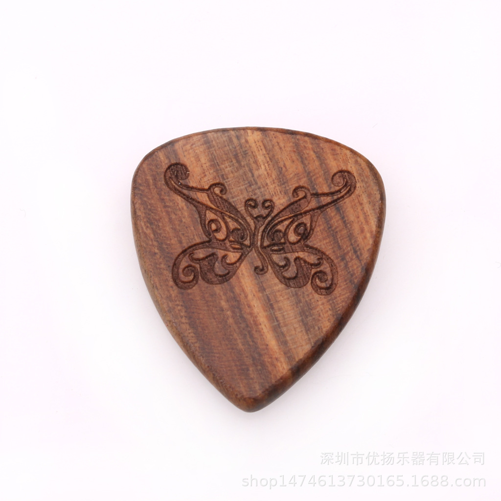 Guitar Picks Plectrum Solid Wood Fingerpicks Musical Instrument Accessories Butterfly 1
