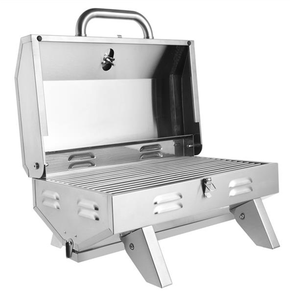 [US Direct] Original Portable Gas Grill  Stove Zokop Tg-5u Square Stainless Steel Bbq Stove Silver