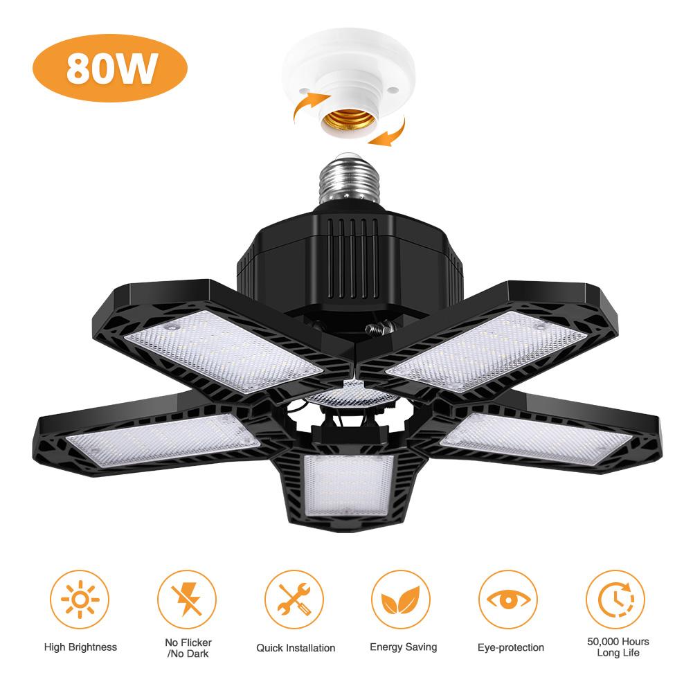85-265V LED Garage Lamp F2 80W Deform Light for Workshop Warehouse Factory Gym White Light black