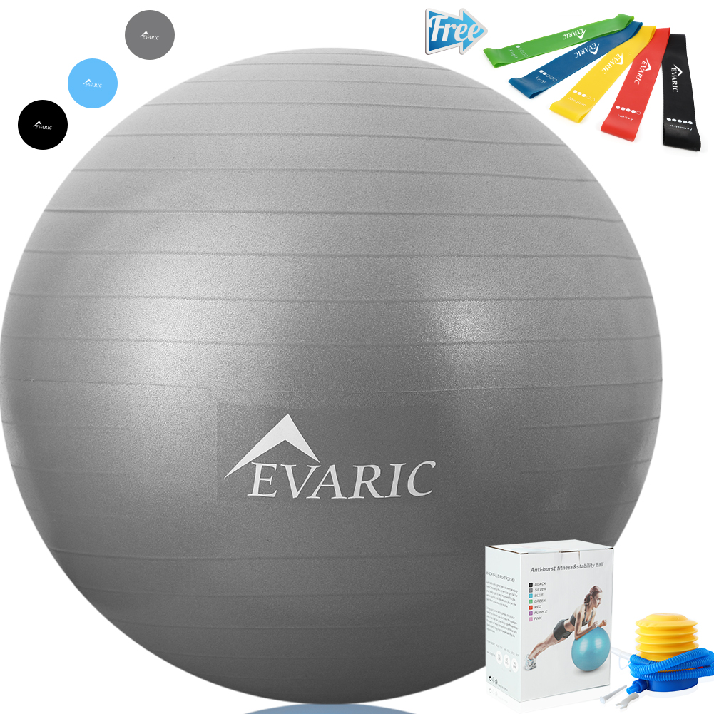 EVARIC Professional Grade Yoga Ball Stability & Anti- Burst Exercise Equipment with 5PCS/Set Resistance Loop Exercise Bands Gift