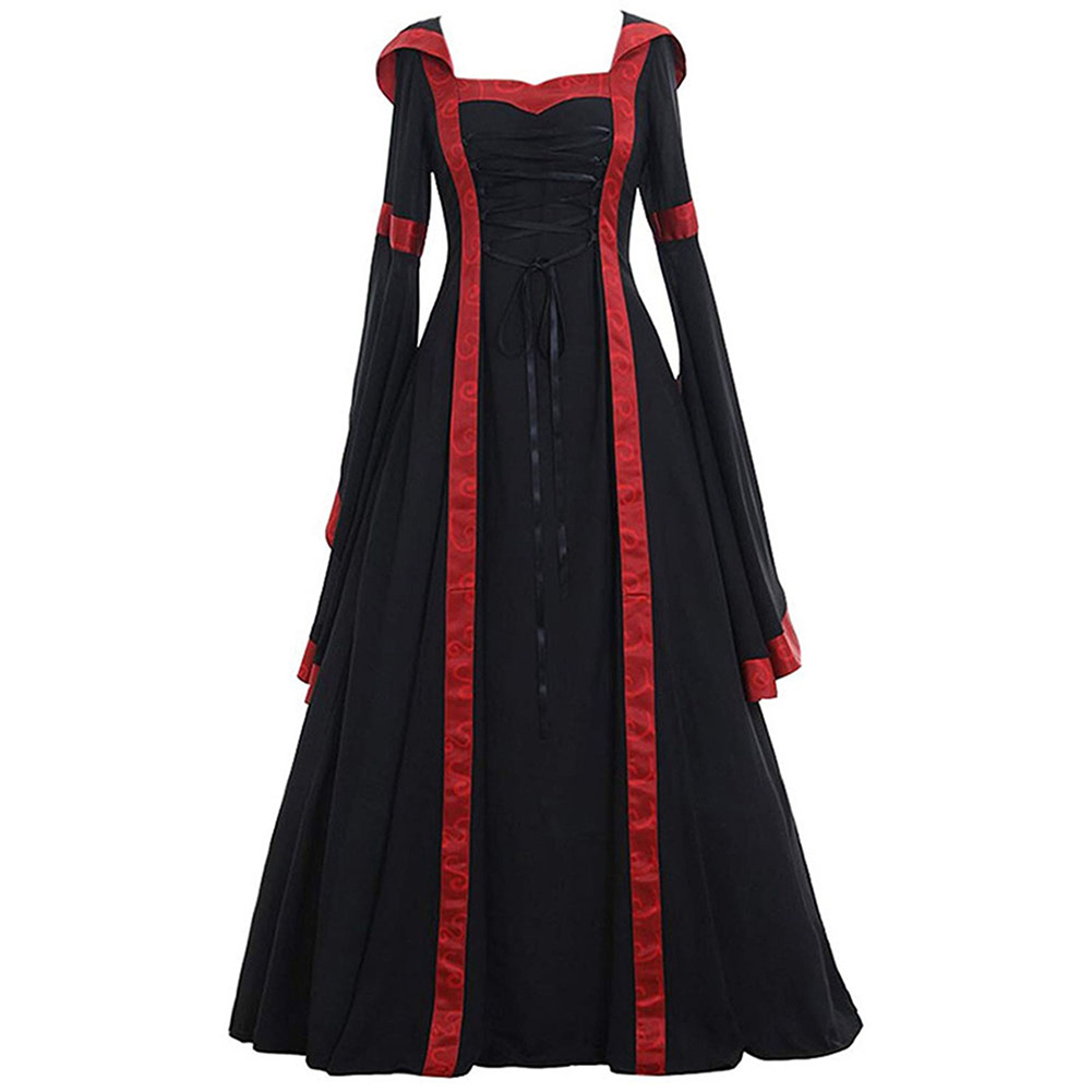 Women Medieval Retro Hooded Dress Square Collar with Trumpet Sleeves Big Swing Dress Halloween Christmas Suit black_S