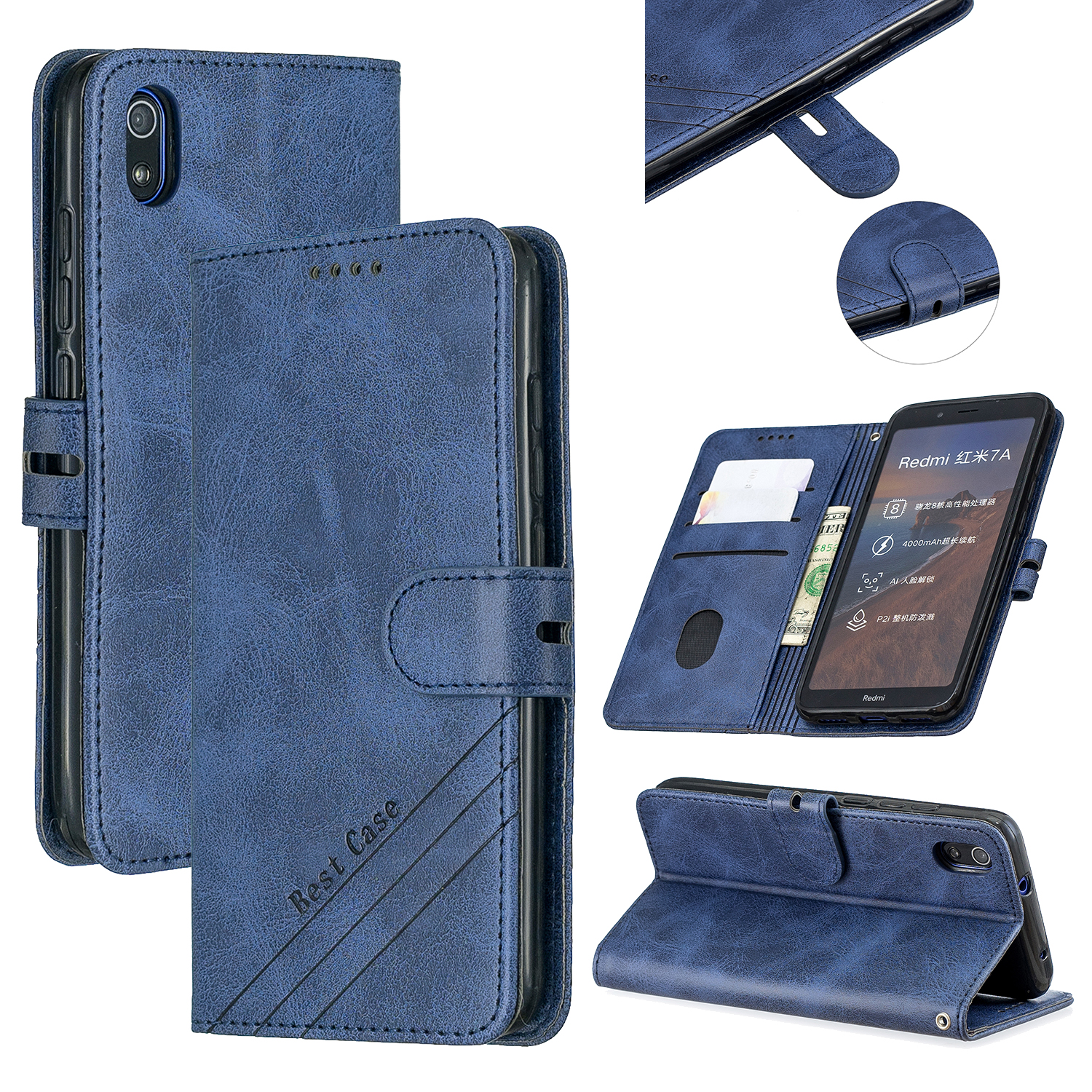 For Redmi 7A Denim Pattern Solid Color Flip Wallet PU Leather Protective Phone Case with Buckle & Bracket blue