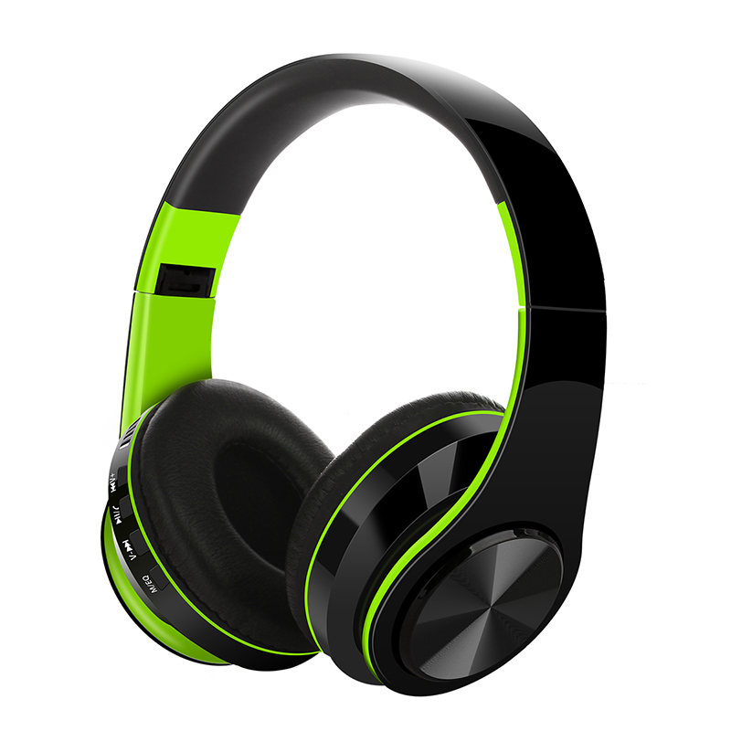 Bluetooth V5.0 Headset Sports Folding Support For Plug-in Card Head-mounted Wireless Headphone green