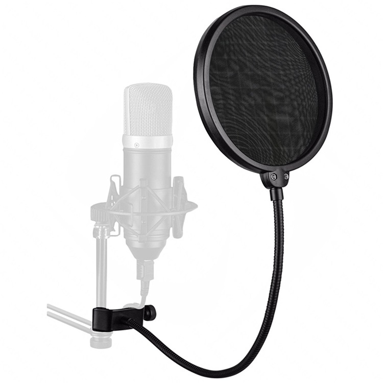 Professional Clamp On Microphone Filter Bilayer Recording Spray Guard Double Mesh Screen Windscreen black