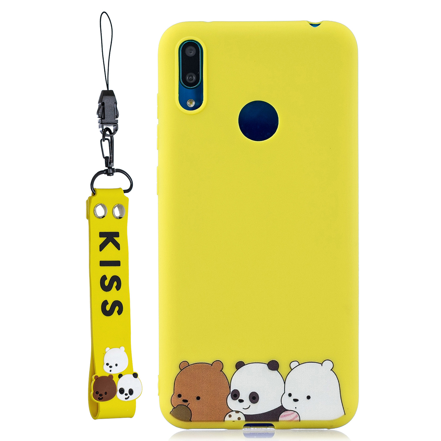 For HUAWEI Y7 2019 Cute Coloured Painted TPU Anti-scratch Non-slip Protective Cover Back Case with Lanyard yellow