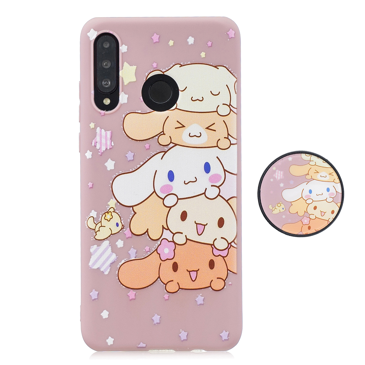 For HUAWEI P30 lite Cute Cartoon Phone Case Ultra Thin Lightweight Soft TPU Phone Case Pure Color Phone Cover with Matching Pattern Adjustable Bracket 1