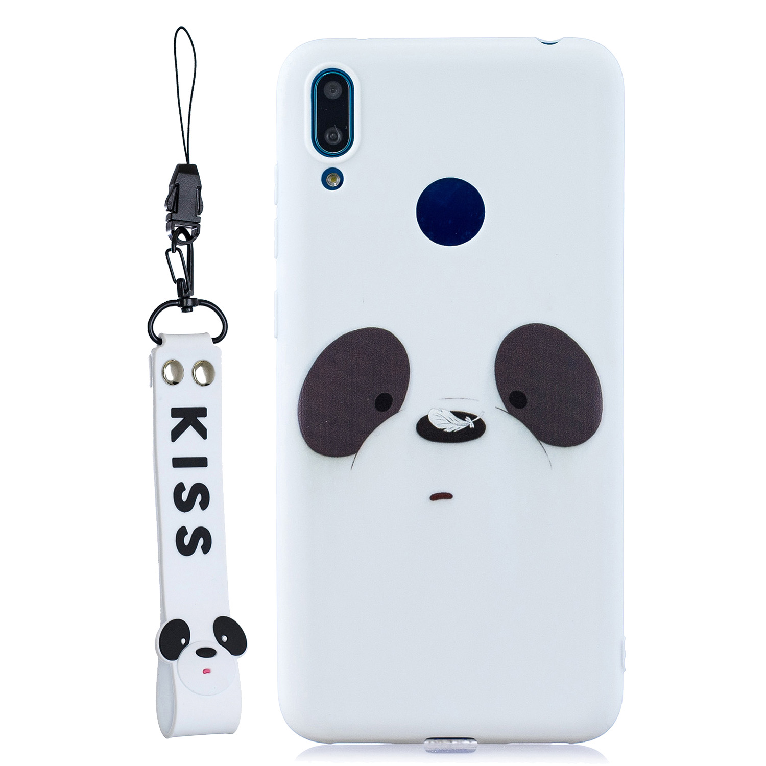 For HUAWEI Y7 2019 Cute Coloured Painted TPU Anti-scratch Non-slip Protective Cover Back Case with Lanyard white