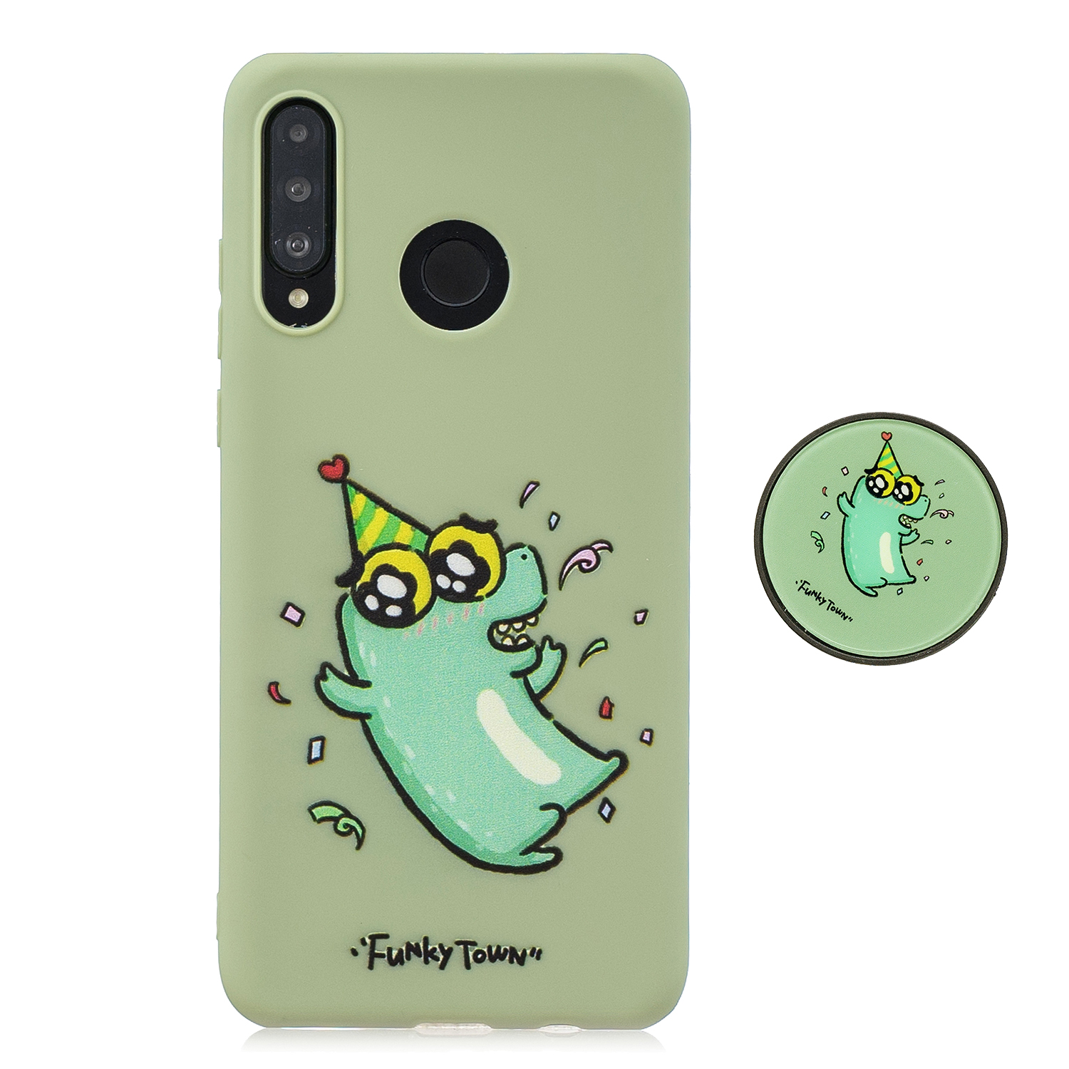 For HUAWEI P30 lite Cute Cartoon Phone Case Ultra Thin Lightweight Soft TPU Phone Case Pure Color Phone Cover with Matching Pattern Adjustable Bracket 2