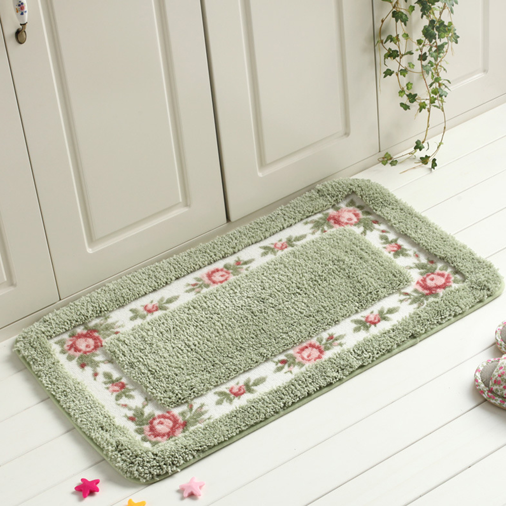 Pastoral Style Rose Pattern Non Slip Water Absorption Rectangle Carpet Floor Mat