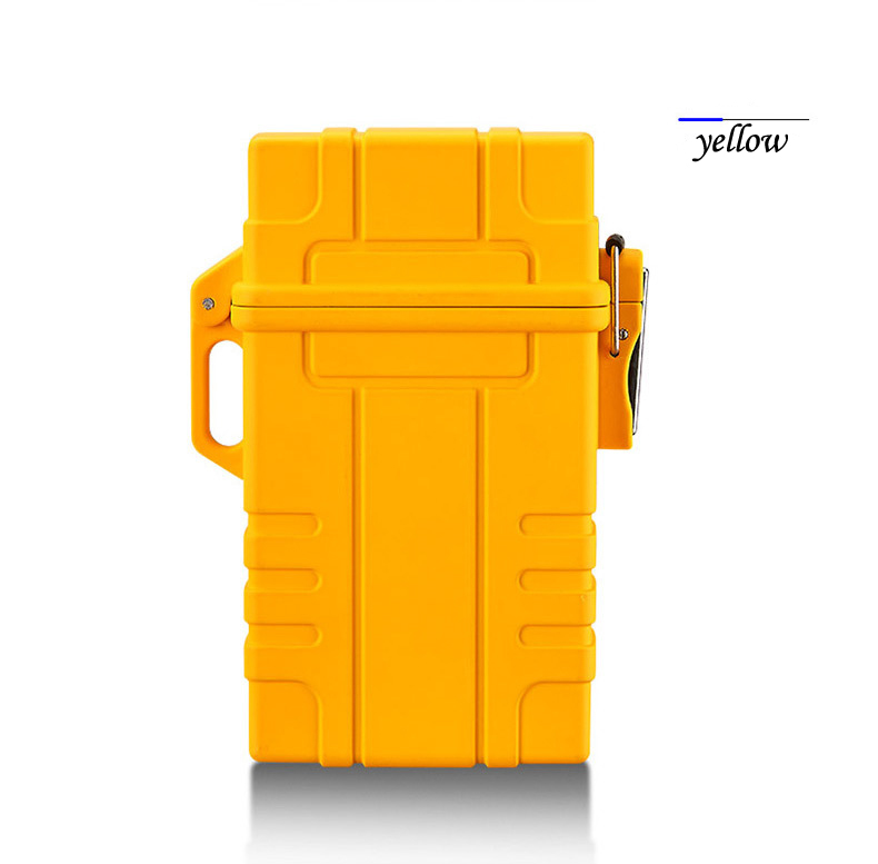 Slim Cigarette Case Box with USB Electronic Lighter Waterproof Cigarette Holder 20pcs Capacity  yellow