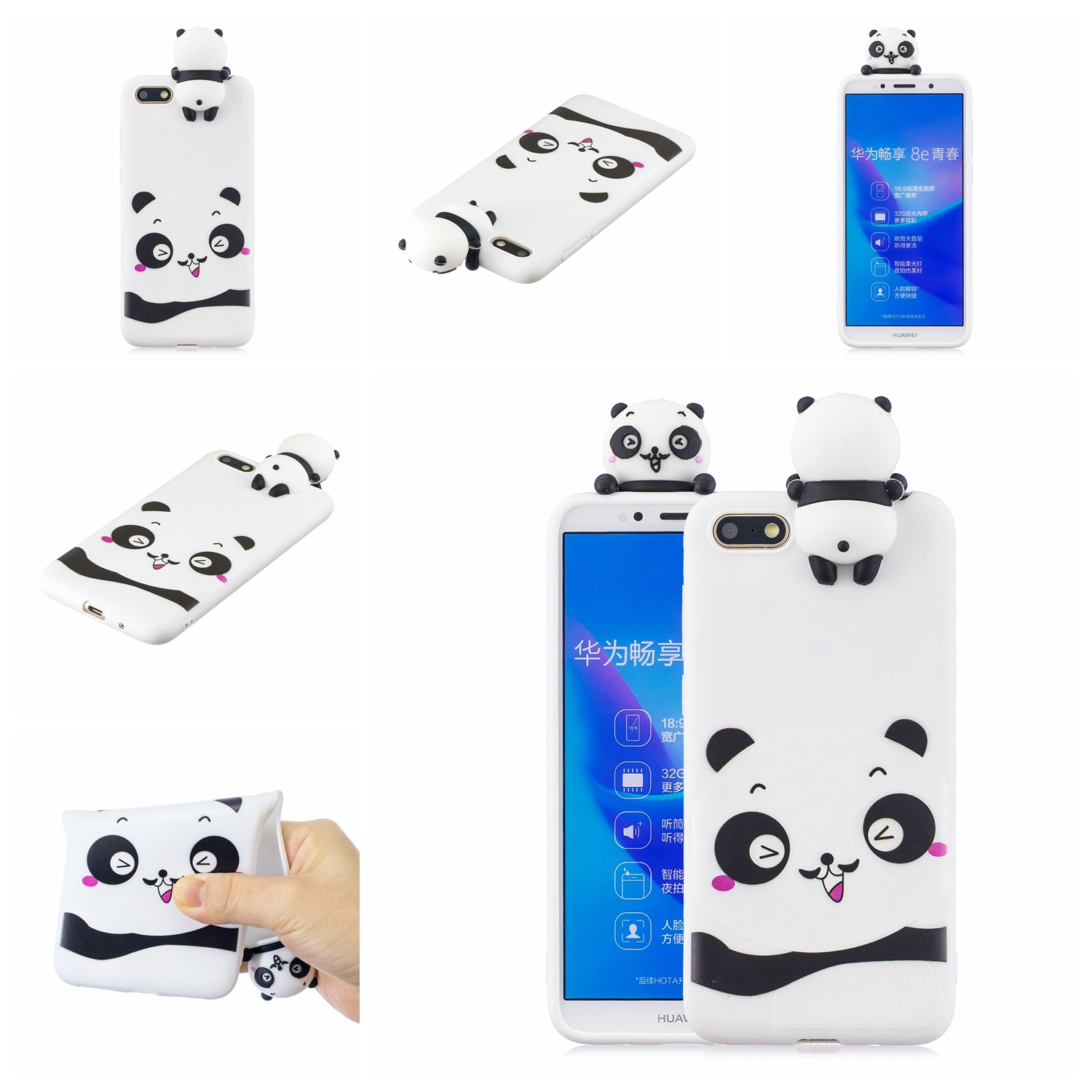 For HUAWEI Y5 2018 3D Cute Coloured Painted Animal TPU Anti-scratch Non-slip Protective Cover Back Case white