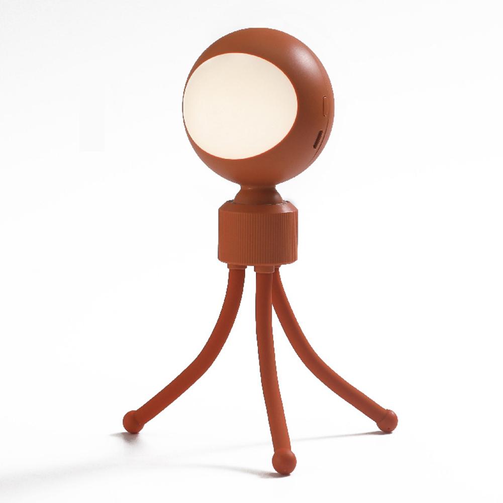 Variety of Sound and Light Control Night Light USB Charging LED 360 ° Rotating Bedroom with Sleeping Lamp Dark orange