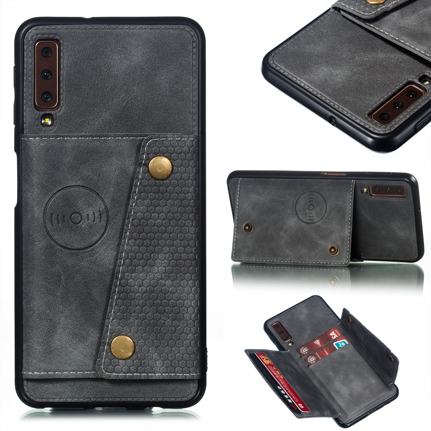 For Samsung A750/A7 2018 Double Buckle Non-slip Shockproof Cell Phone Case with Card Slot Bracket gray