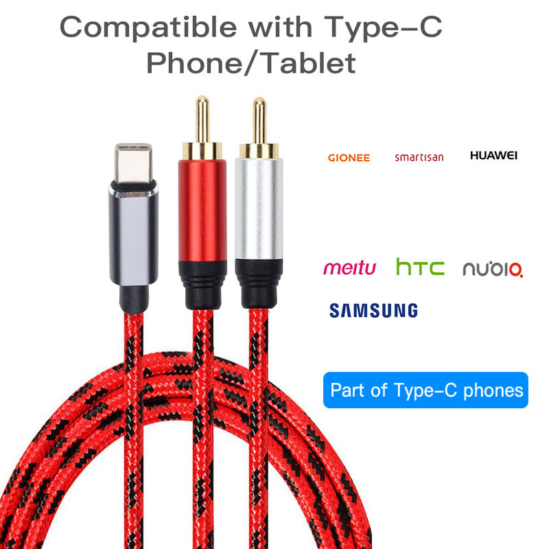 USB C RCA Audio Cable Type-C to 2 RCA Cable for Phone Home PC Computer 0.5m