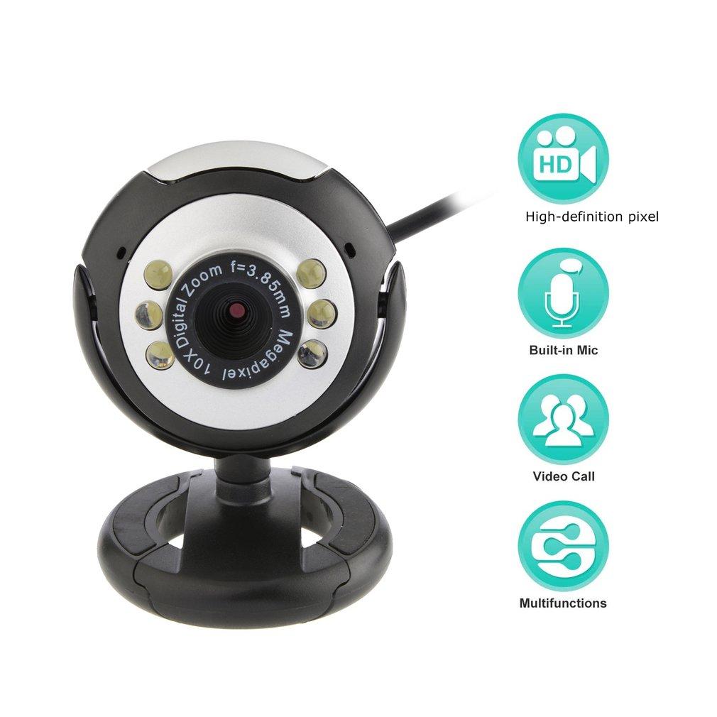 USB Video Web Camera Six Lights Night Vision Camera Computer Webcam With Mic For Pc Laptop Camera black