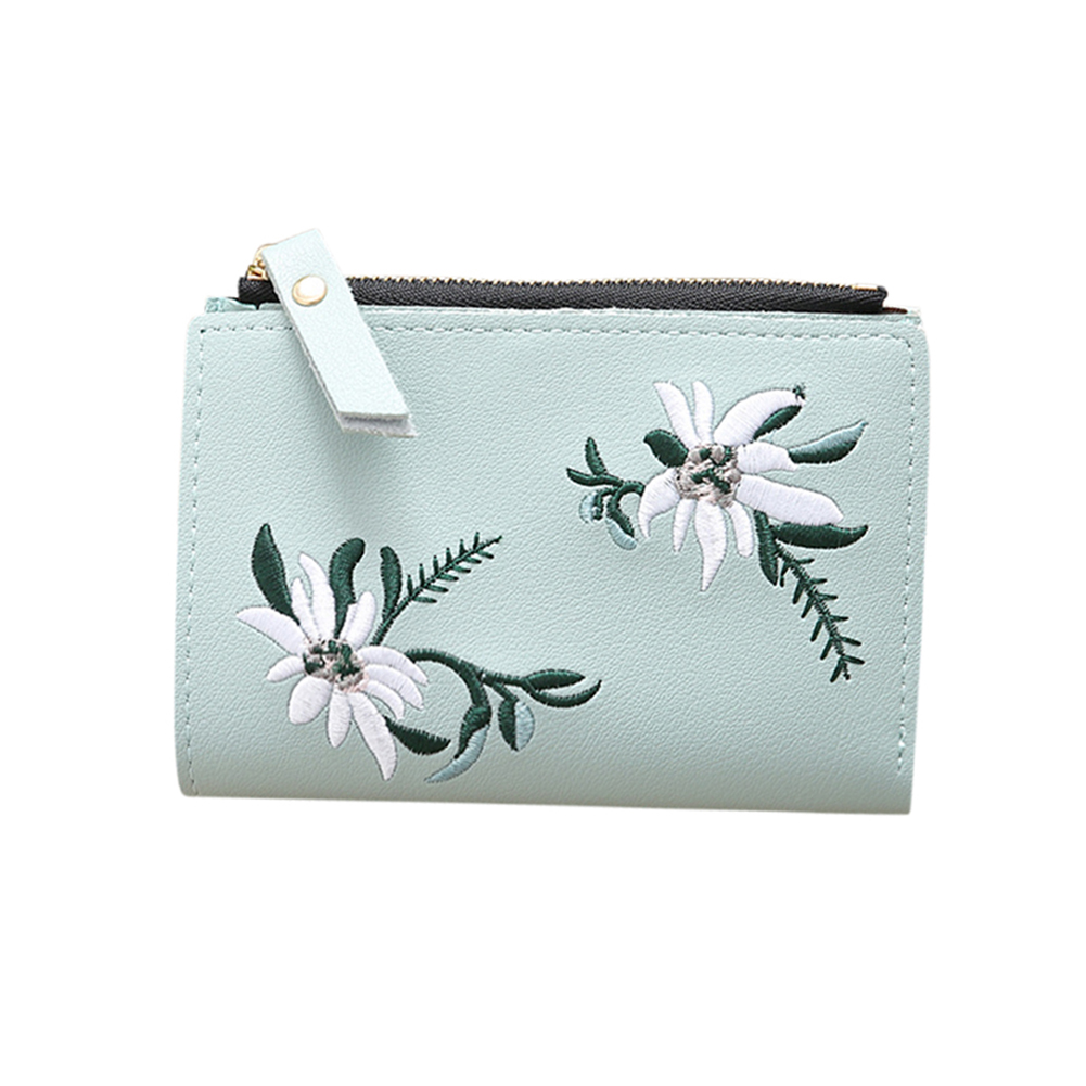 Ladies Mini Folding Purse Embroidered Flower Pattern Zipper Wallet Card Holder Light green