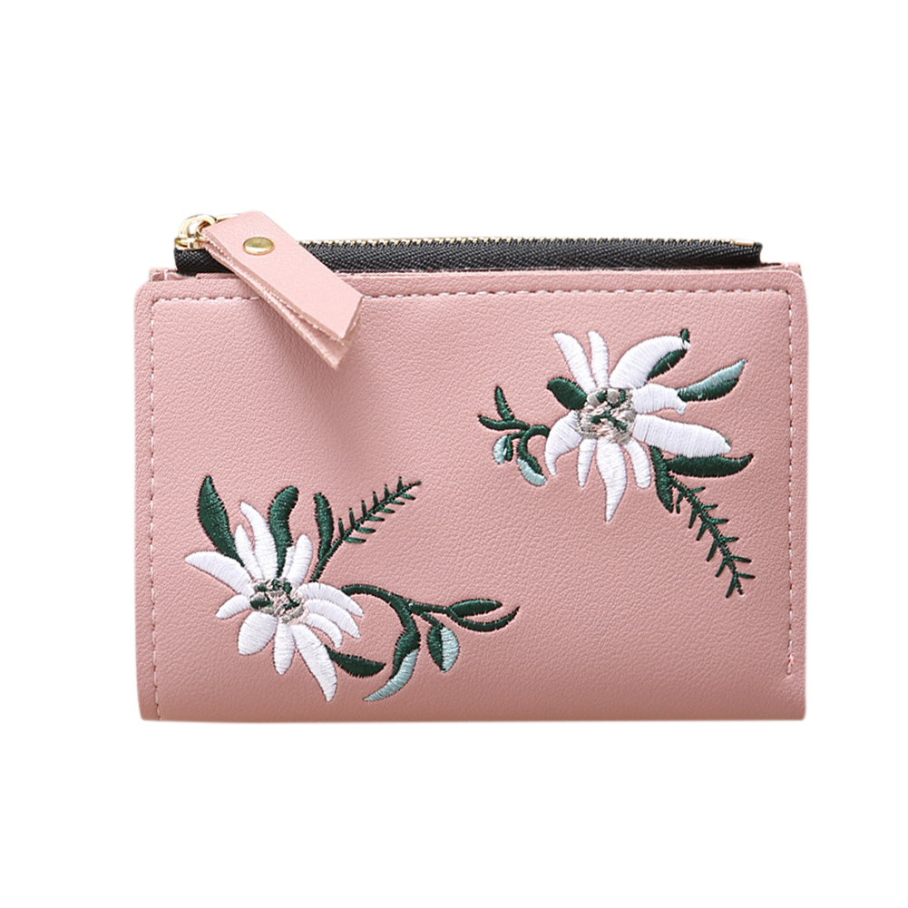 Ladies Mini Folding Purse Embroidered Flower Pattern Zipper Wallet Card Holder Light pink