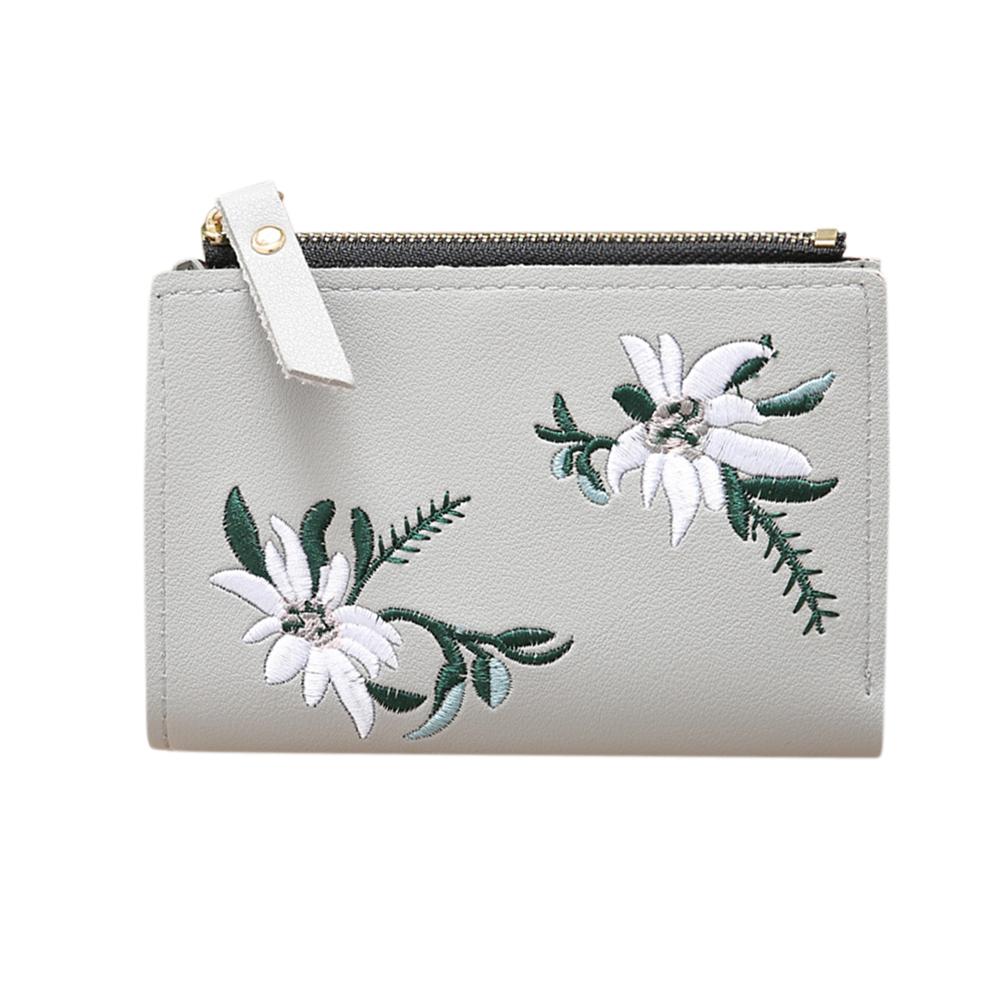 Ladies Mini Folding Purse Embroidered Flower Pattern Zipper Wallet Card Holder gray
