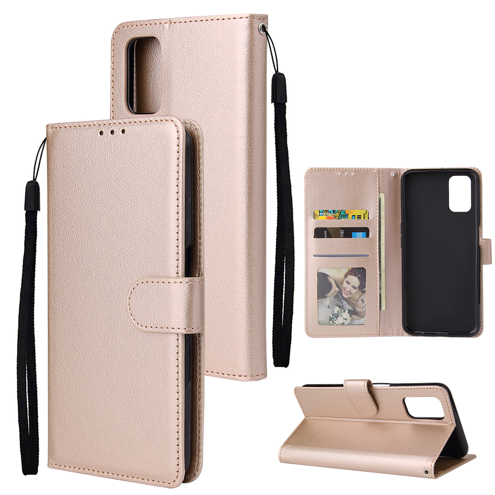 For OPPO A52/A72/A92 PU Leather Protective Phone Case with 3 Cards Slots Bracket Golden
