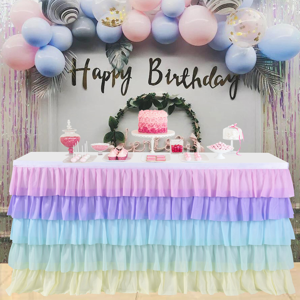 5 Layers Wavy Spliced Chiffon Table Skirt for Wedding Party Decoration color_14FT