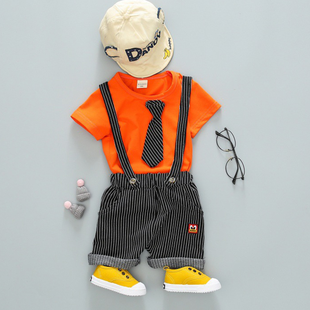 Children Two-piece Suits of Short Sleeves Top+Strips Suspender Shorts Leisure Outfits for Boys Orange_90cm