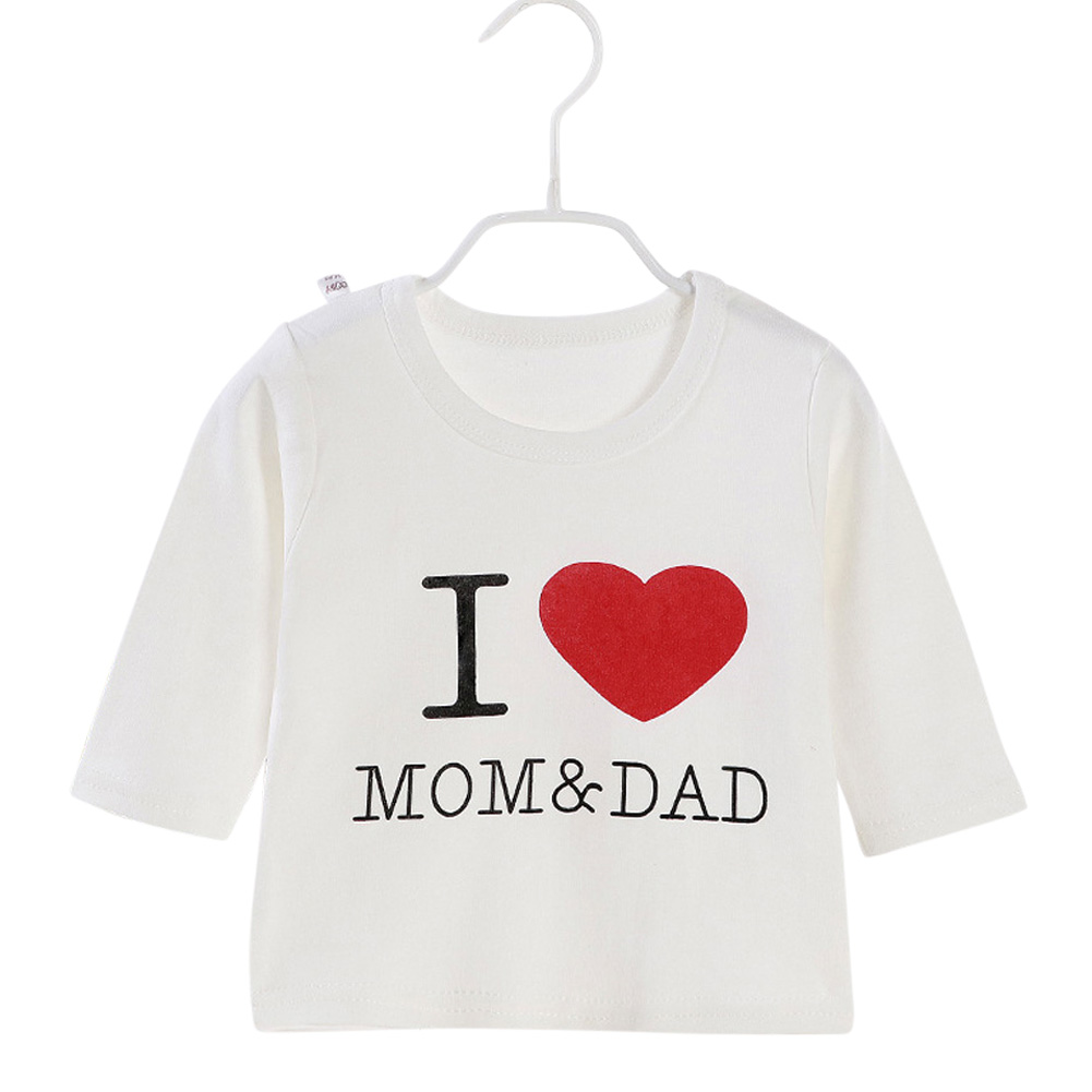 Children's T-shirt Long-sleeve Cotton Bottoming Crew- Neck Shirt for 0-4 Years Old Kids White _90cm