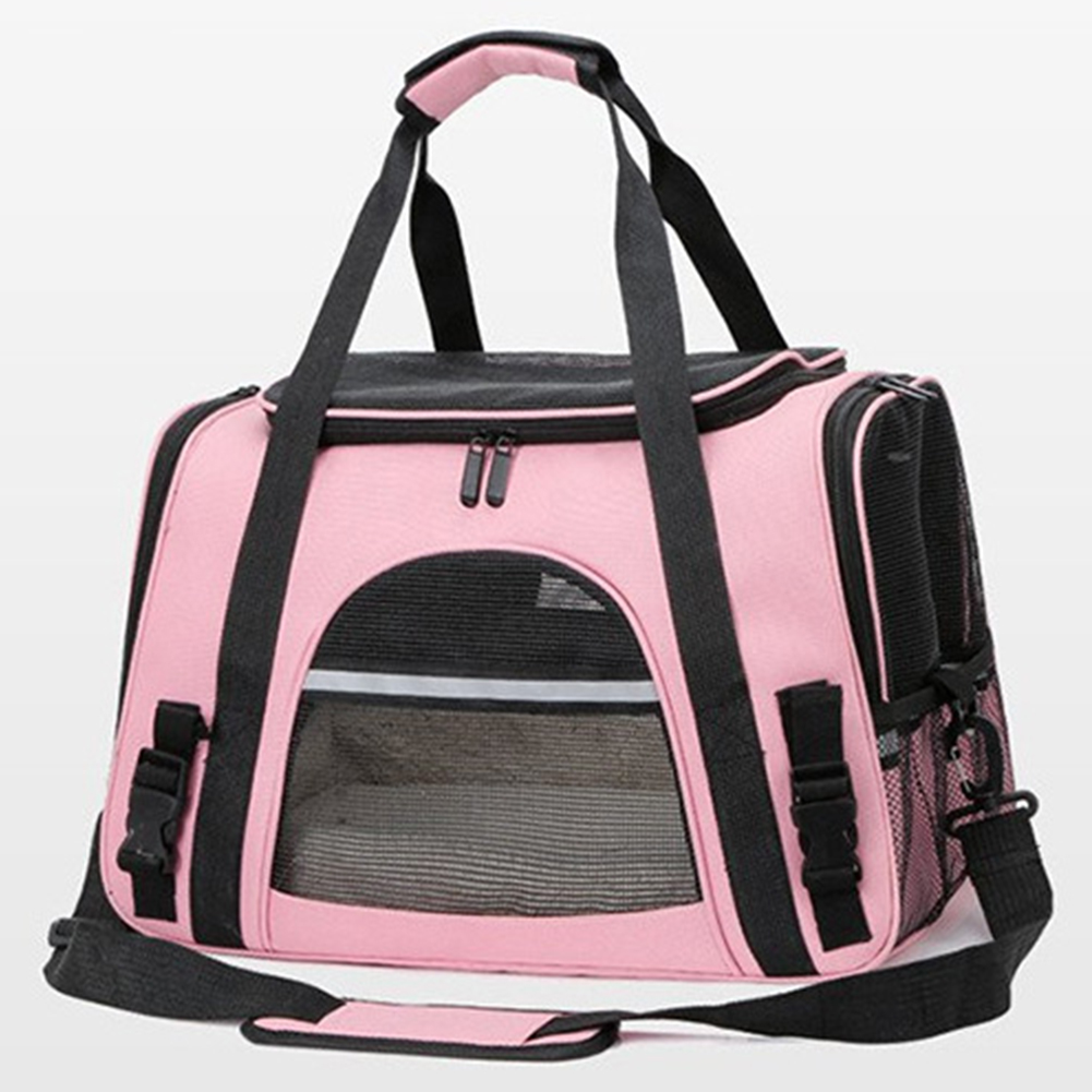 Portable Pet Bag Outgoing Travel Breathable Pets Cage Handbag with Top Window Mesh Pink
