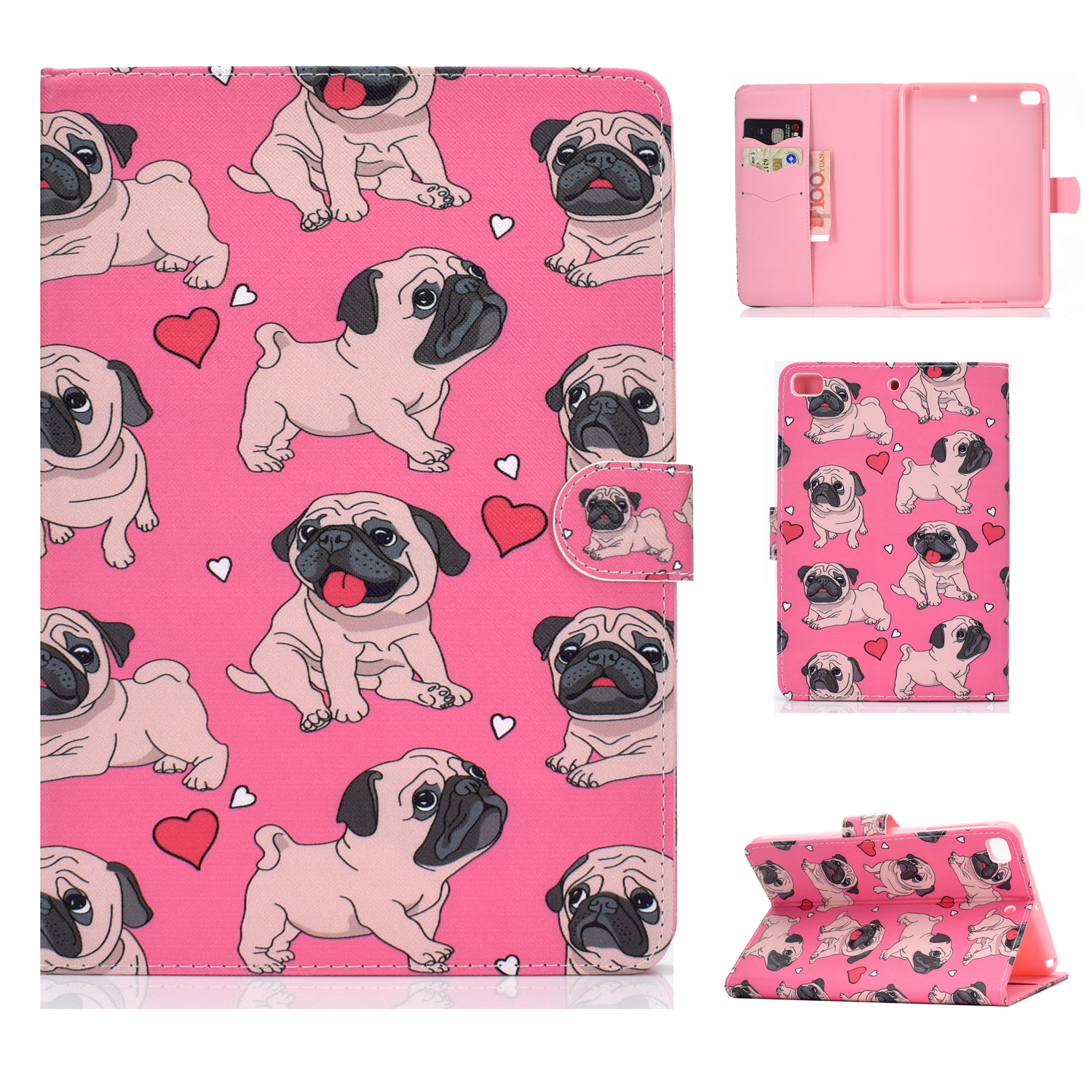For iPad mini 1/2/3/4/5 Laptop Protective Case Frront Snap Color Painted Smart Stay PU Cover Caring dog