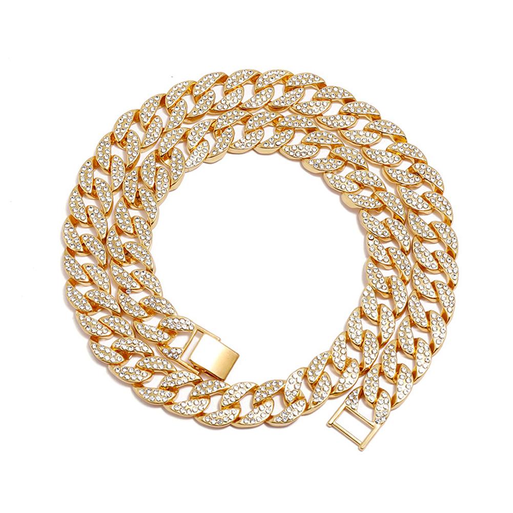 Men's Necklace Hip-hop Style Full-diamond Chain Necklace Bracelet Necklace-gold 60cm