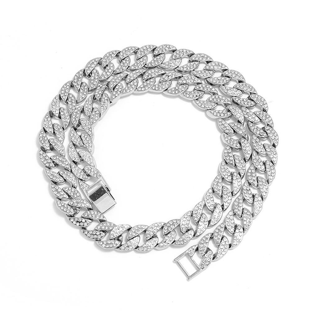Men's Necklace Hip-hop Style Full-diamond Chain Necklace Bracelet Necklace-Silver 60cm