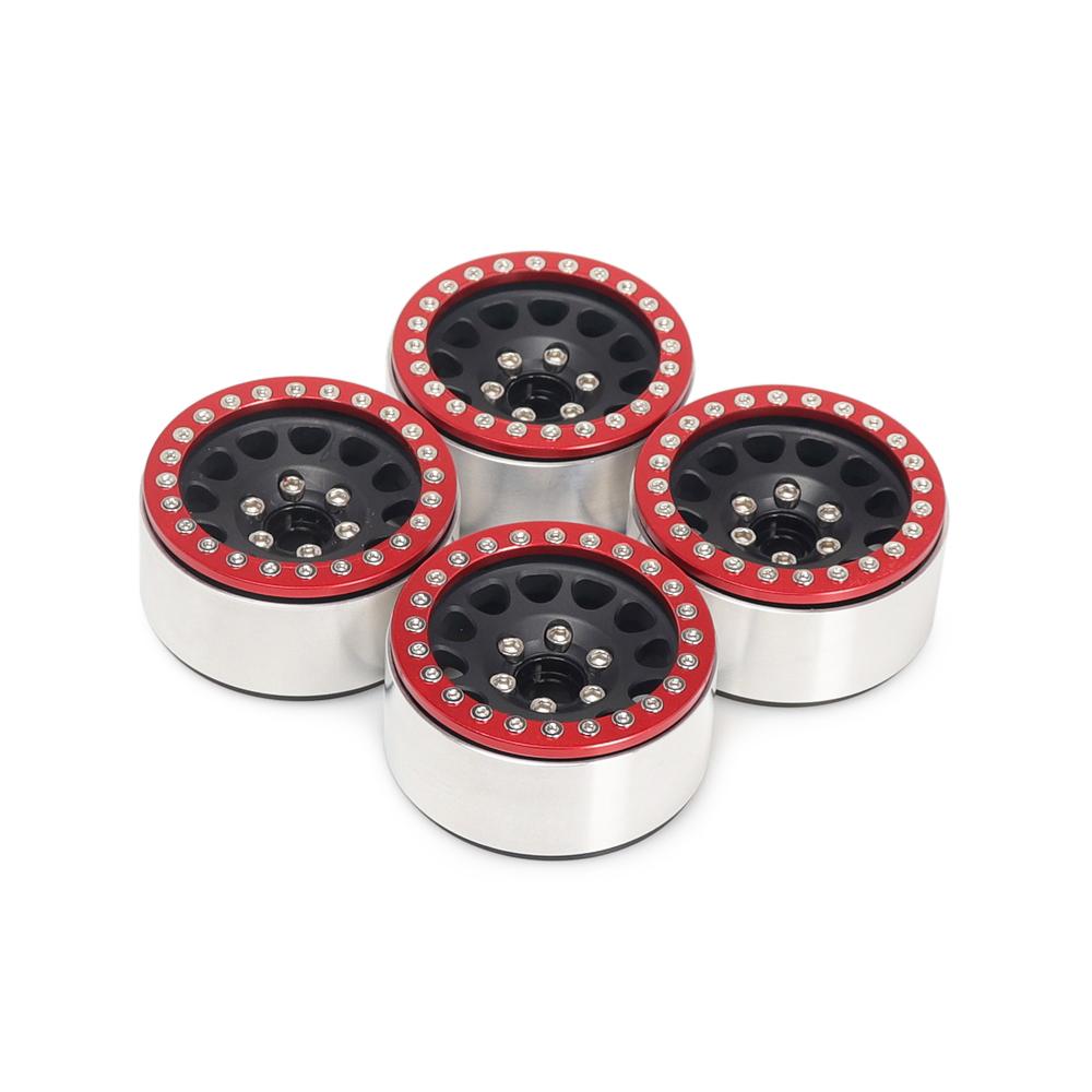 4Pcs Aluminum Alloy 1.9  Wheels Rims for 1/10 RC Crawler Axial SCX10 SCX10 II 90046 Traxxas TRX4 D90 Red + black