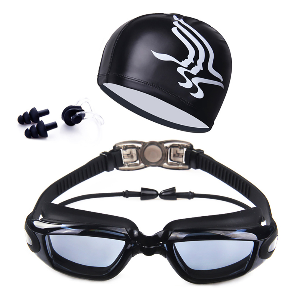 HD Anti Fog Swimming Goggles Swim Cap Set
