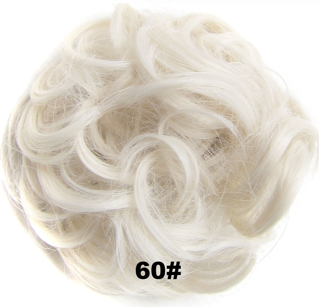 Fashion Synthetic Women Hair Pony Tail Hair Extension Bun Hairpiece Scrunchie Elastic Wedding Wave Curly  60#