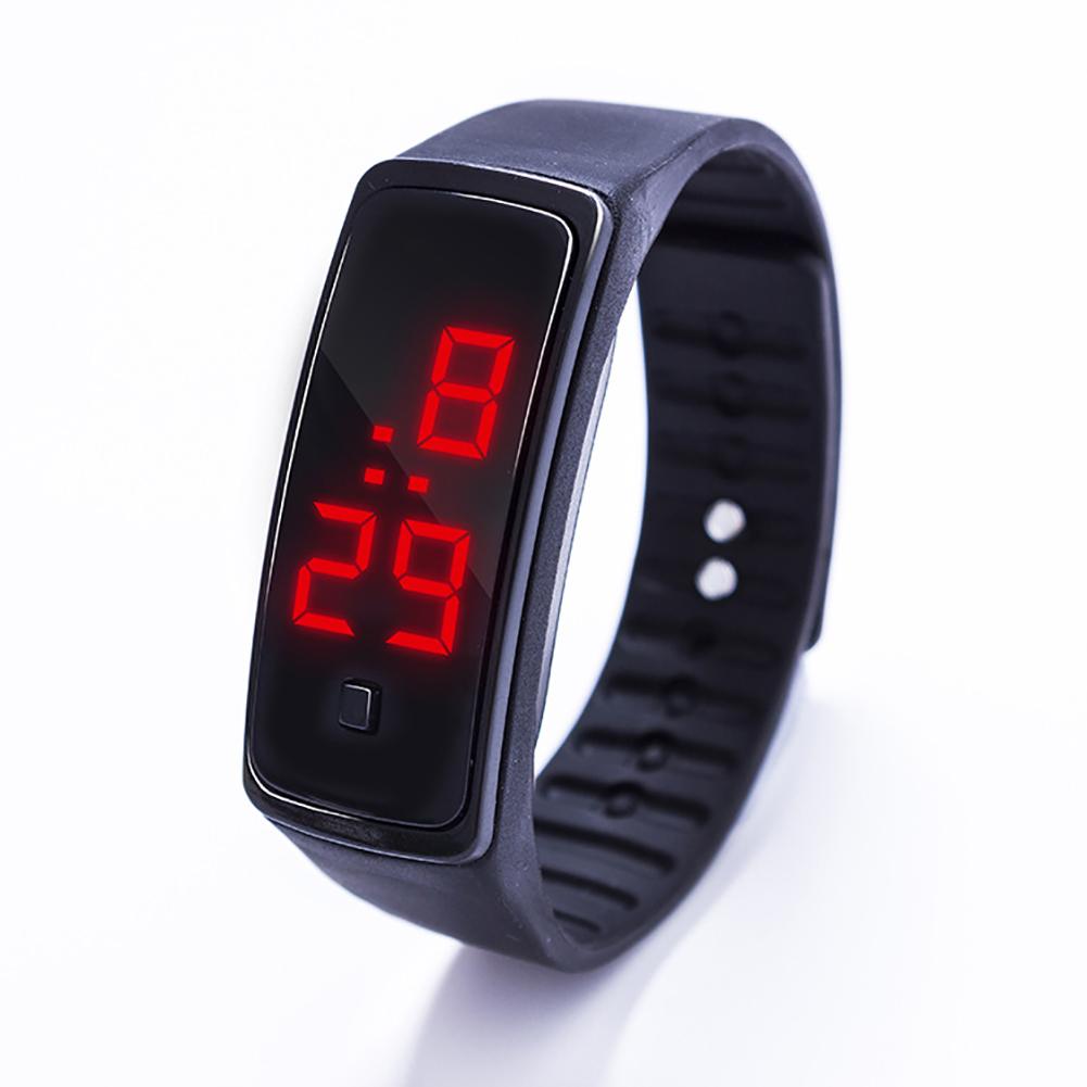 LED Digital Display Bracelet Watch Children's Students Silica Gel Sports Watch black