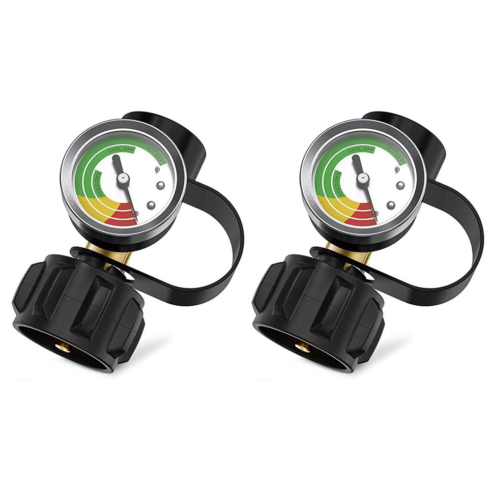 2 Pcsset Brass Qcc Pressure  Gauge Accurate Pressure Detection Black
