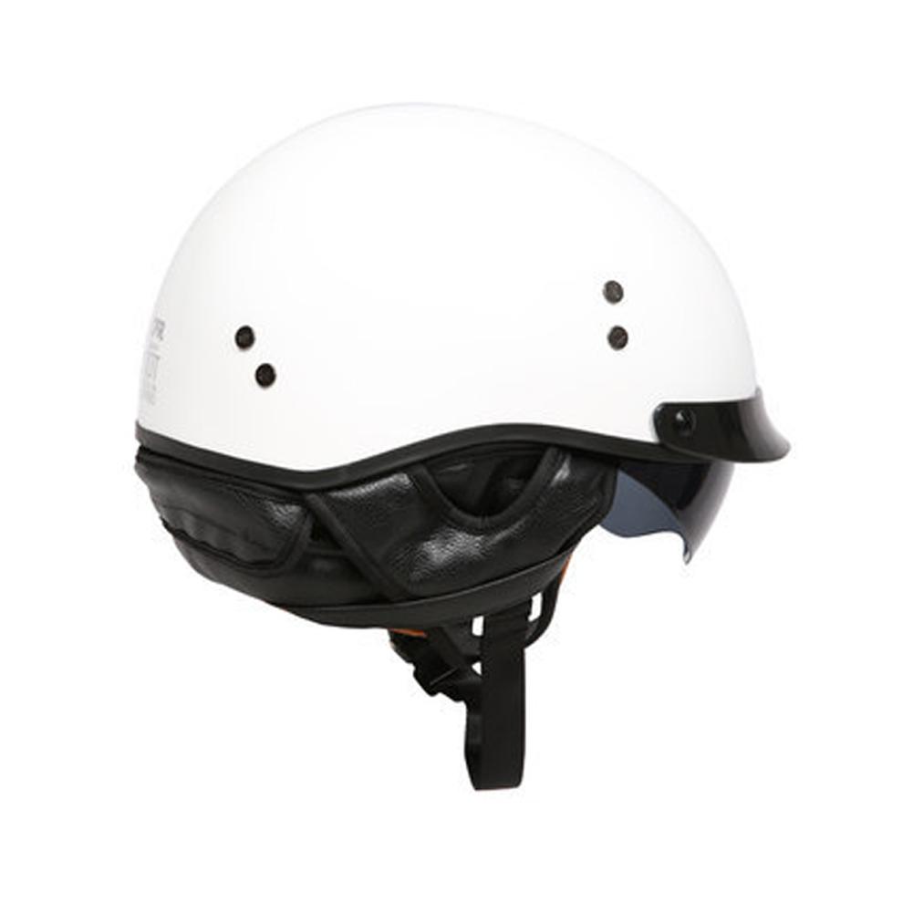 Retro Helemt Half Face Motorcylce Hat FRP Prince Helmet Bright white L