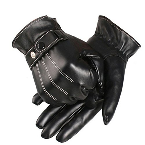 Lowpricenice Men PU Leather Warm Gloves