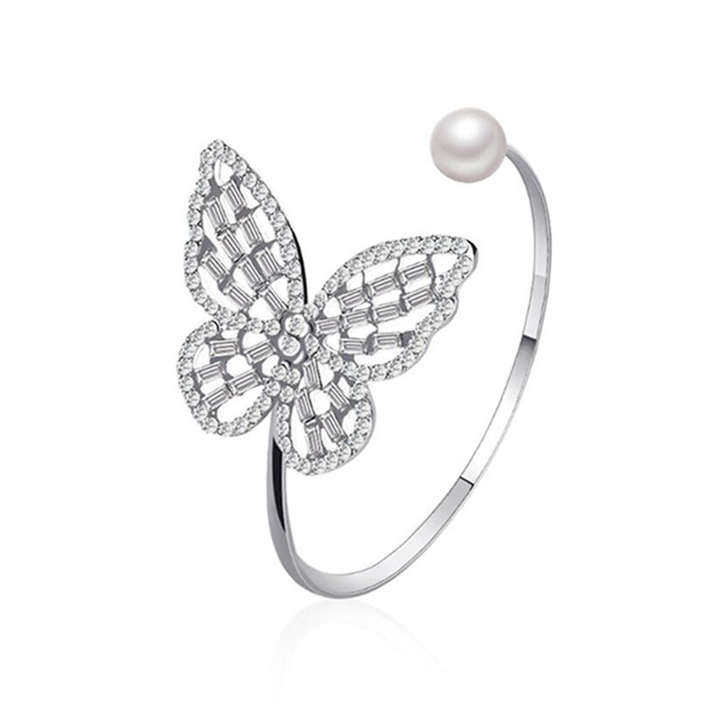 Women's Bracelet All-match Hollow Zircon  Pearl Butterfly-shape Open Bracelet Silver