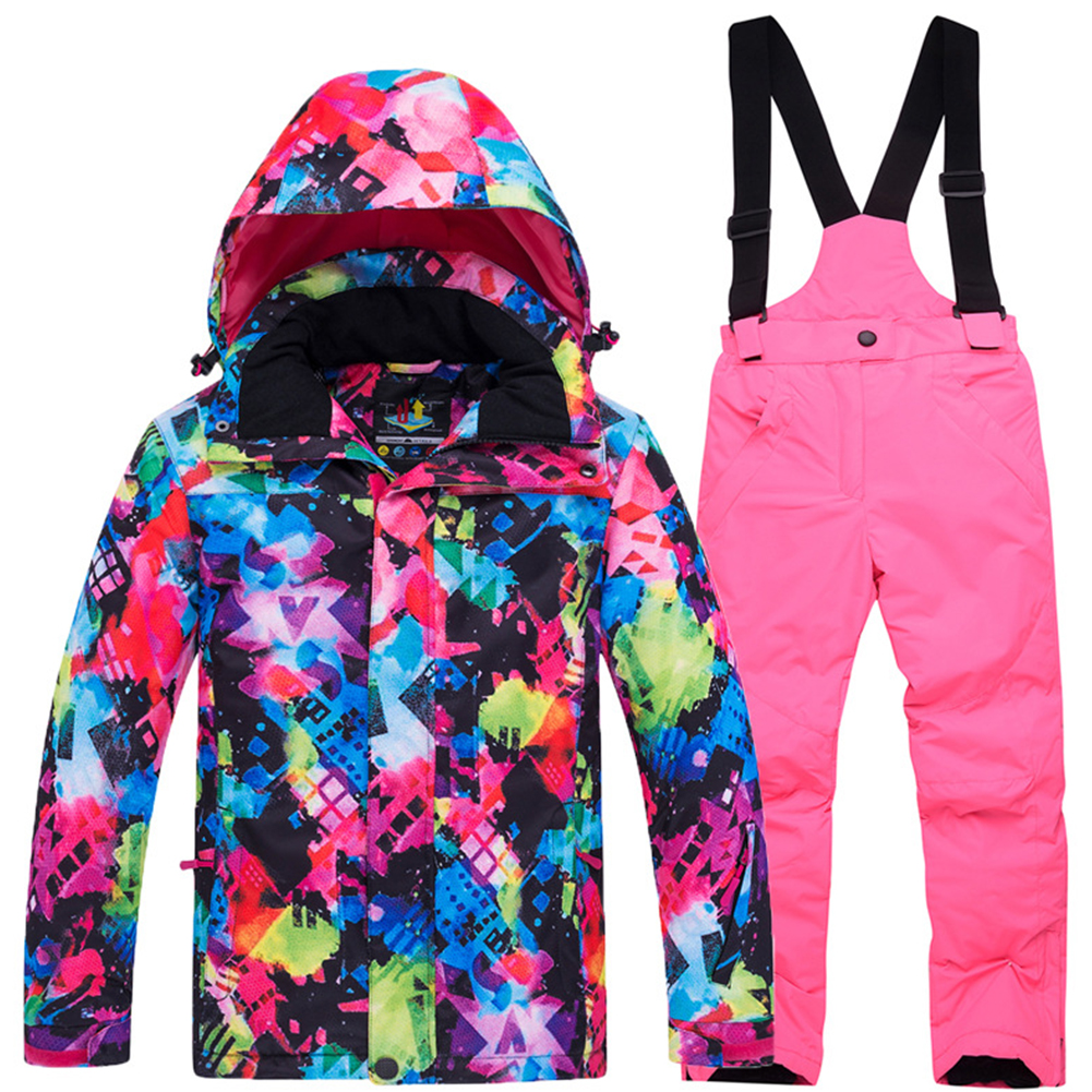 Thickened Outdoor Suit Warm and Cold-proof Ski Outfits Waterproof Winter Children's Ski Wear Colorful top + bright pink pants_M